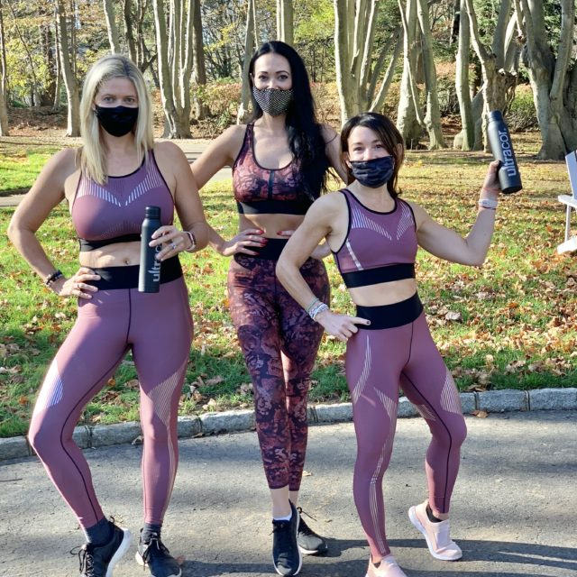 """Ashley Slaughter, Ann Pennington, Siobhan Gallagher wearing Ultracor at Sweat for Smiles """"Move for Youth"""""""